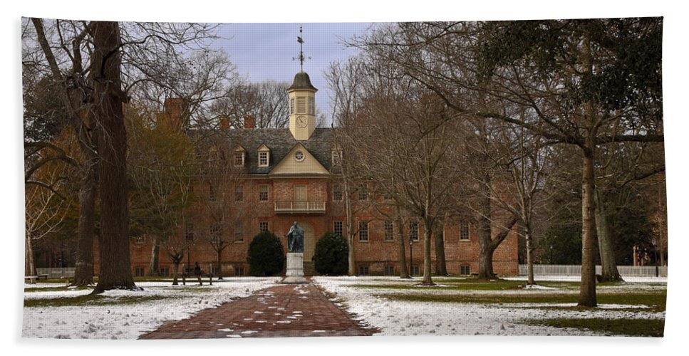 Wren Building Beach Towel featuring the photograph Wren Building In Snow by Sally Weigand