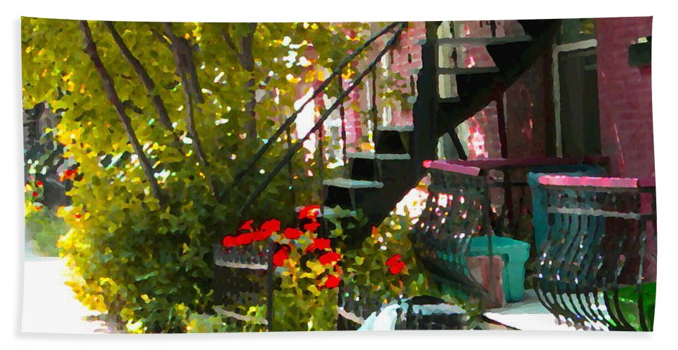 Montreal Beach Towel featuring the painting Wrought Iron Fence Balcony And Staircases Verdun Stairs Summer Scenes Carole Spandau by Carole Spandau