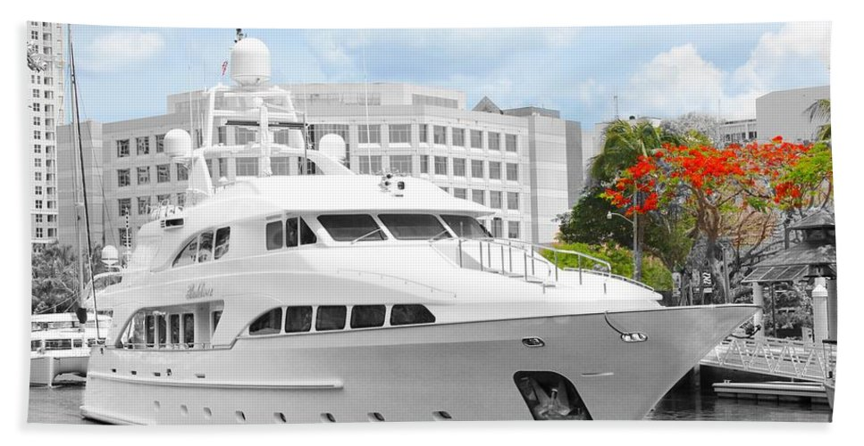 Yacht Beach Towel featuring the photograph Yacht Watch Series 02 by Carlos Diaz