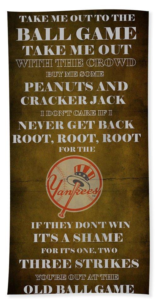 Yankees Beach Towel featuring the digital art Yankees Peanuts And Cracker Jack by Movie Poster Prints