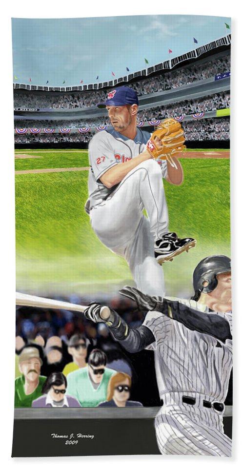 Baseball Beach Towel featuring the digital art Yankees Vs Indians by Thomas J Herring