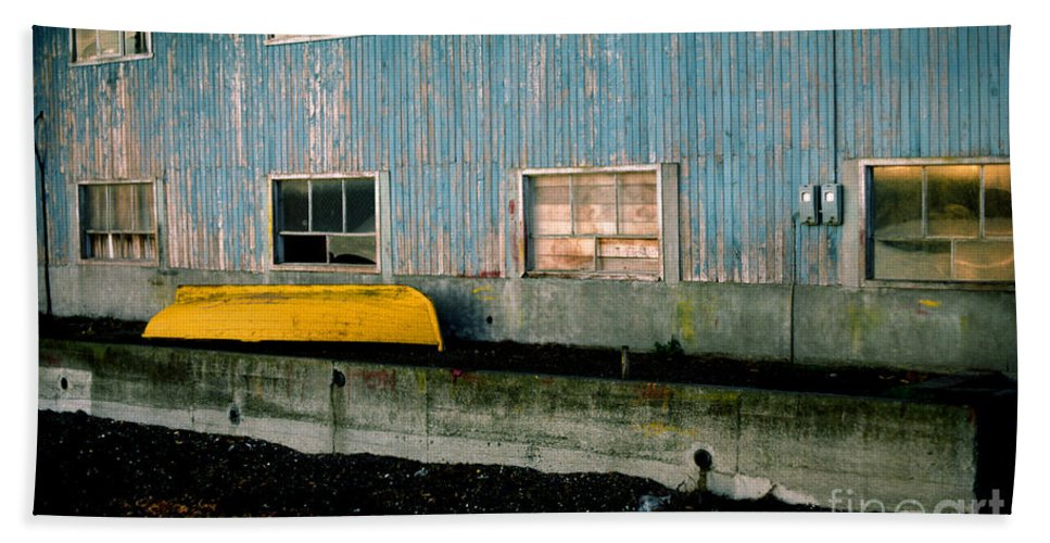 Yellow Boat Beach Towel featuring the photograph Yellow Boat by J L Woody Wooden