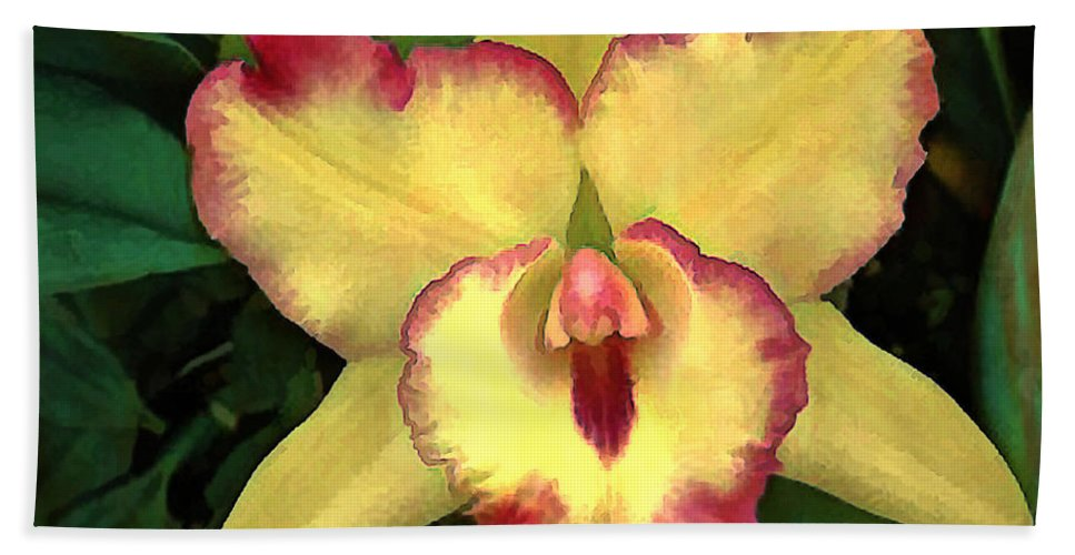Orchid Beach Towel featuring the painting Yellow Cattleya With Red Ruffles by Elaine Plesser