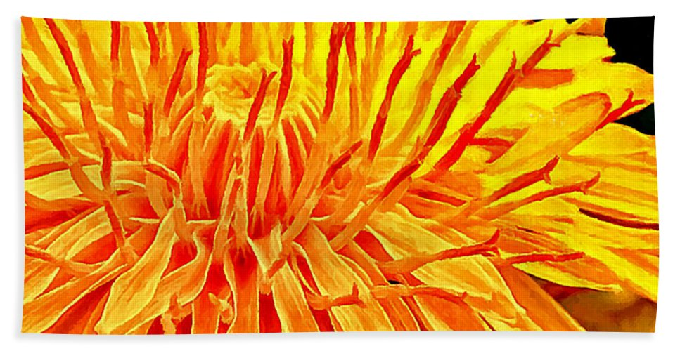 Bobby Beach Towel featuring the painting Yellow Chrysanthemum Painting by Bob and Nadine Johnston