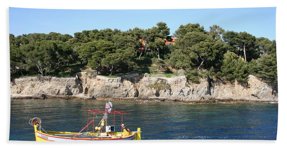 Fishing Boat Beach Towel featuring the photograph Yellow Fishing Boat - Cote D'azur by Christiane Schulze Art And Photography