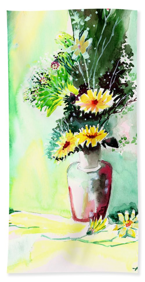 Flower Beach Towel featuring the painting Yellow Flowers 1 by Anil Nene