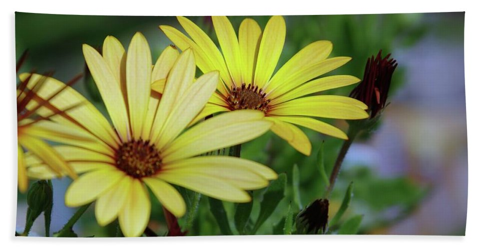 Yellow Flowers Beach Towel featuring the photograph Yellow Flowers by Jeff Swan