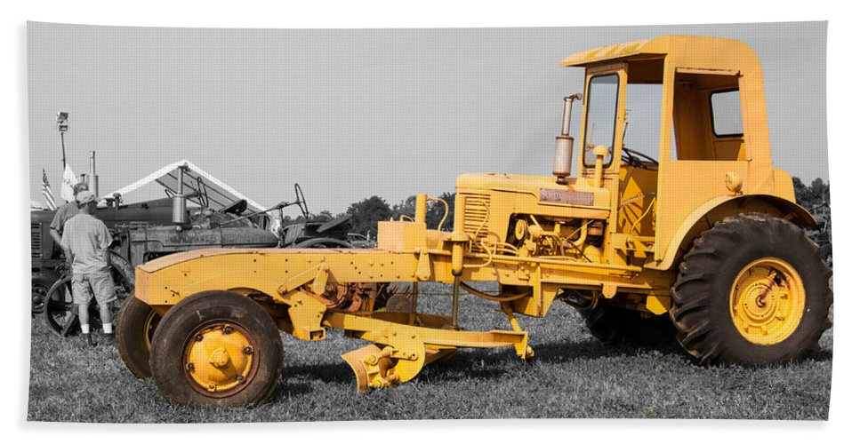 Guy Whiteley Photography Beach Towel featuring the photograph Yellow Grader by Guy Whiteley
