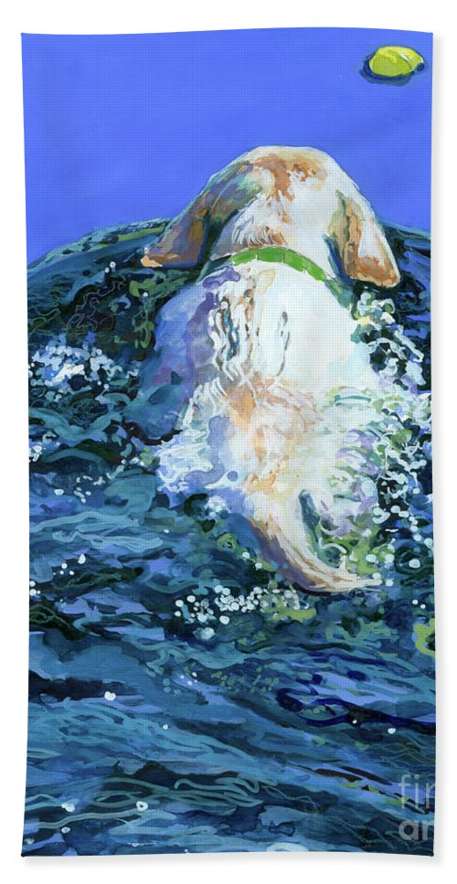 Yellow Labrador Retriever Beach Towel featuring the painting Yellow Lab Blue Wake by Molly Poole