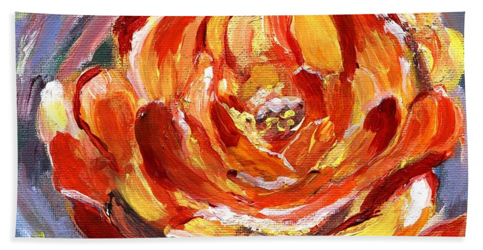Rose Beach Towel featuring the painting Yellow Rose by Jamie Frier