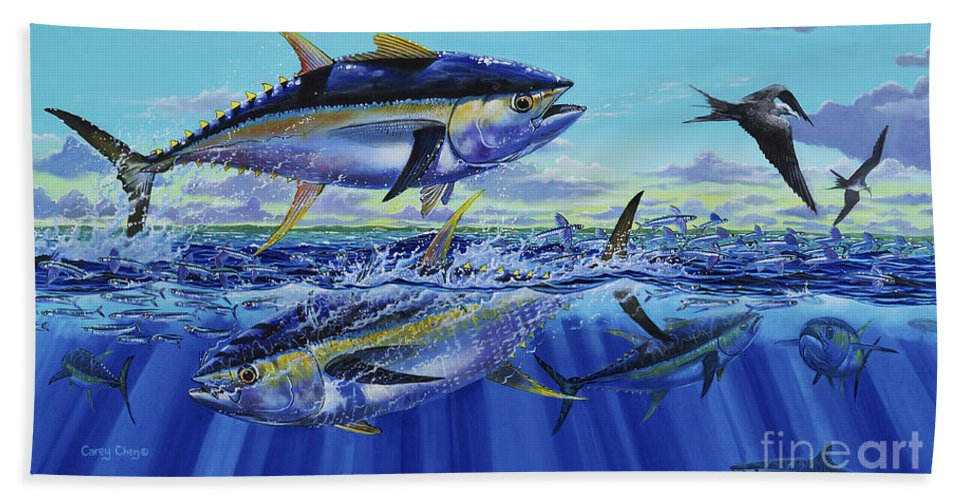 Yellowfin Tuna Beach Towel featuring the painting Yellowfin Bust Off0083 by Carey Chen