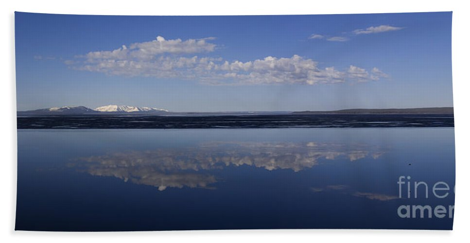 Yellowstone Lake Beach Towel featuring the photograph Yellowstone Lake Reflections by J L Woody Wooden