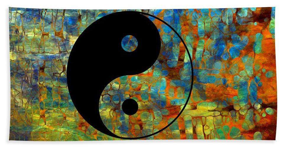 Yin Yang Abstract Beach Towel featuring the digital art Yin Yang Abstract by Dan Sproul
