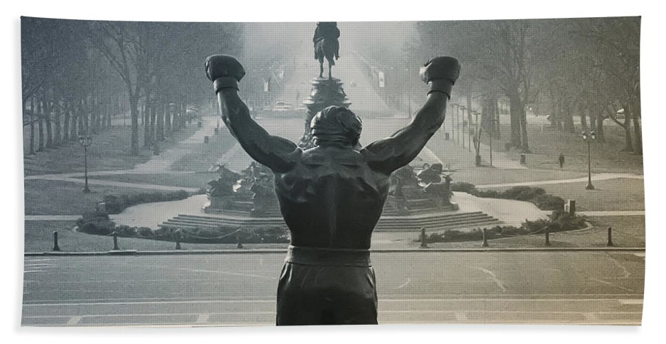 Rocky Beach Towel featuring the photograph Yo Adrian by Bill Cannon
