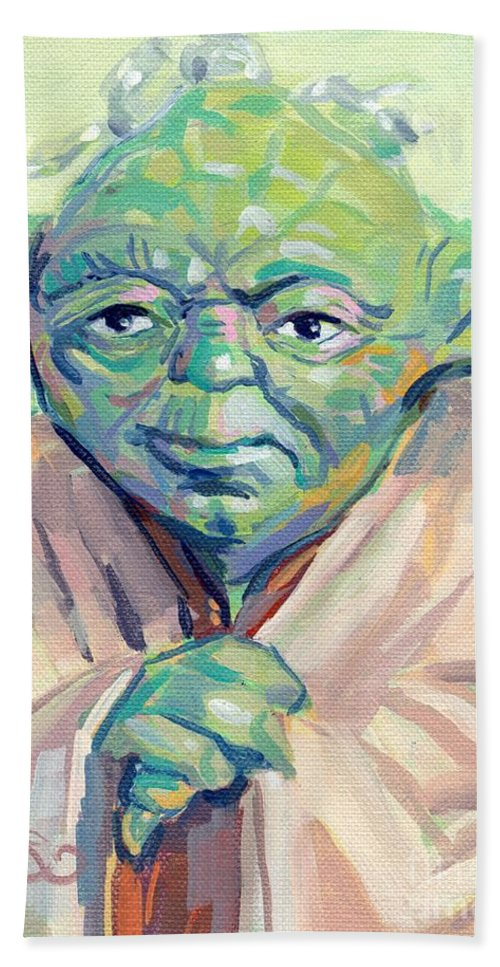 Yoda Beach Towel featuring the painting Yoda by Kimberly Santini