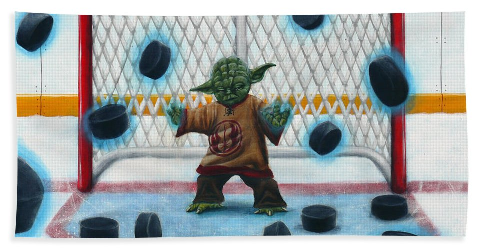 Star Wars Beach Towel featuring the painting Yoda Saves Everything by Marlon Huynh