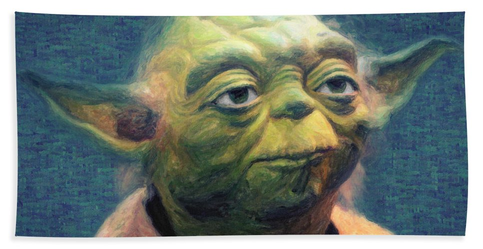 Yoda Beach Sheet featuring the painting Yoda by Zapista Zapista