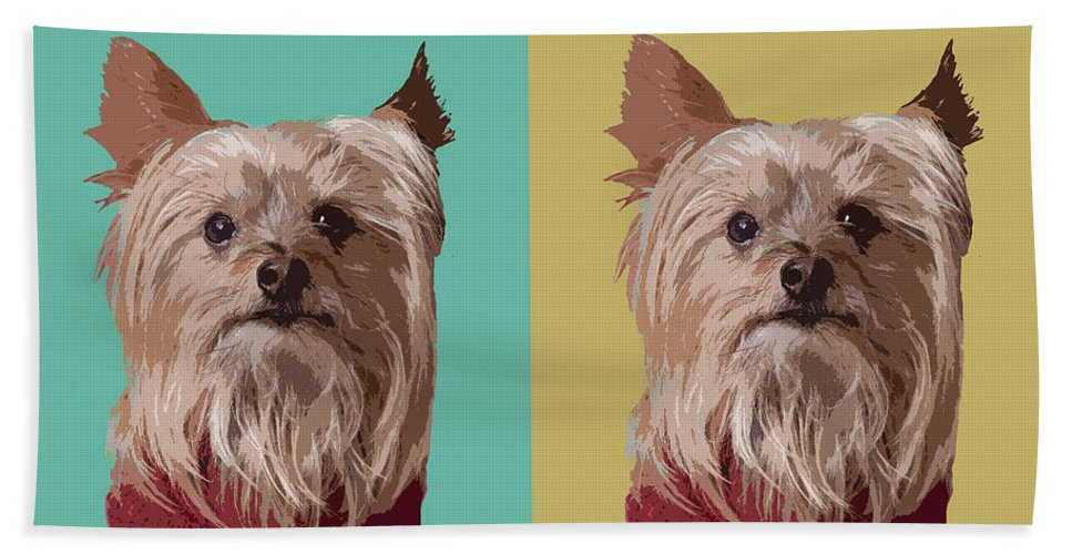 Yorkie Terrier Beach Towel featuring the digital art Yorkie Times Four by Susan Stone