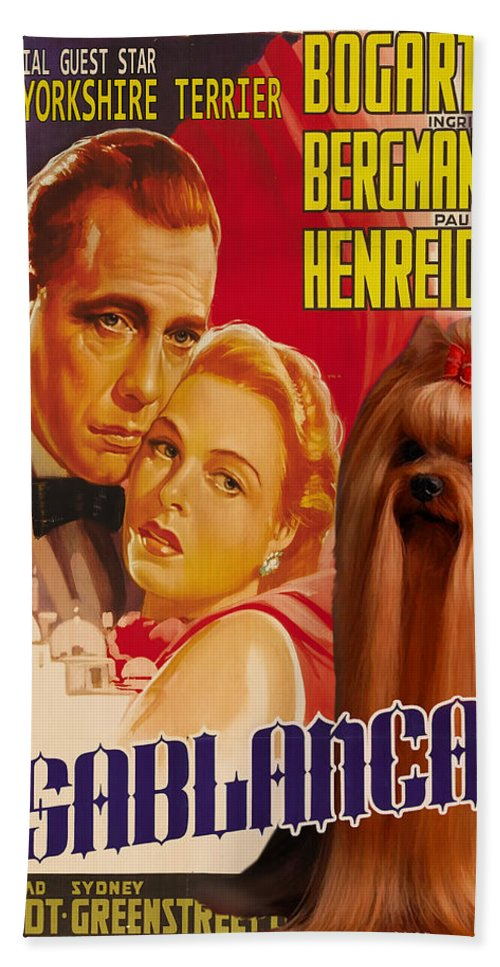 Yorkshire Terrier Beach Towel featuring the painting Yorkshire Terrier Art Canvas Print - Casablanca Movie Poster by Sandra Sij