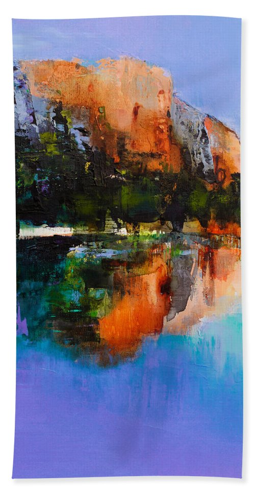 Yosemite Beach Towel featuring the painting Yosemite Valley by Elise Palmigiani