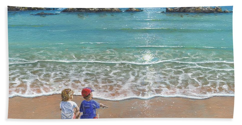 Landscape Beach Towel featuring the painting You And Me by Richard Harpum