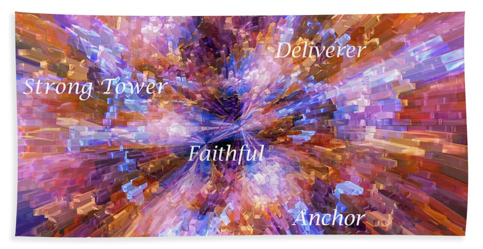 Explosion Beach Towel featuring the digital art You Are The Lord by Margie Chapman