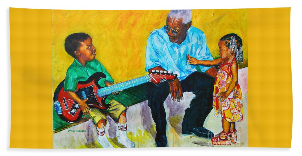 Grandpa's Love Beach Towel featuring the painting Your Attention Plez by Charles M Williams