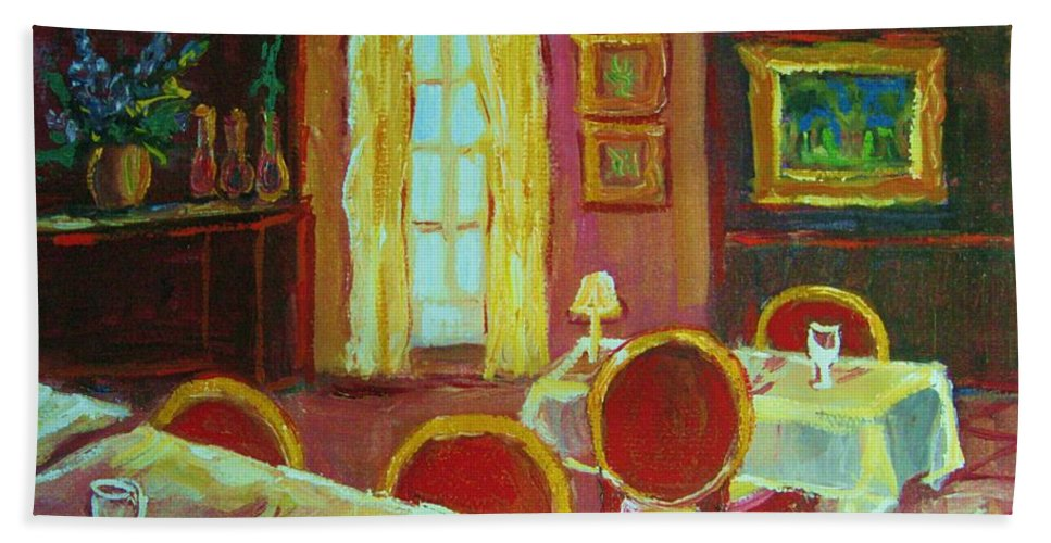 Interior Beach Towel featuring the painting Your Table Awaits by Carole Spandau