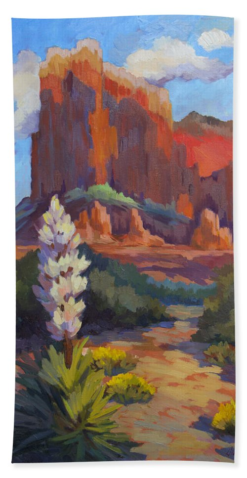 Sedona Beach Sheet featuring the painting Yucca At Sedona by Diane McClary