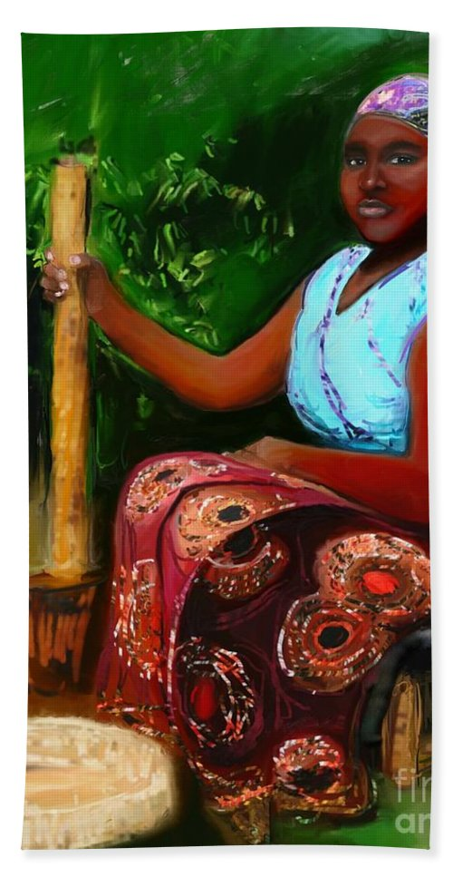 African Art Beach Towel featuring the mixed media Zambia Woman by Vannetta Ferguson