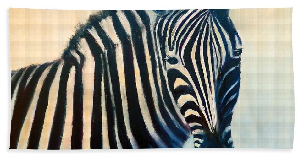 Zebra Beach Towel featuring the painting Zebra by Carolyn Jarvis