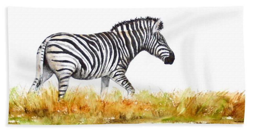Zebra Beach Towel featuring the painting Zebra Panoramic by Patricia Beebe