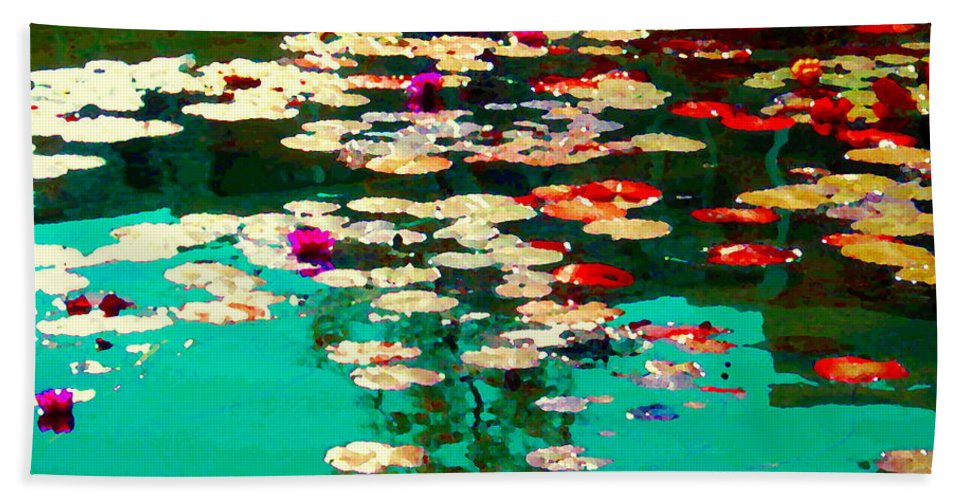 Water Lilies Beach Towel featuring the painting Zen Garden Water Lilies Pond Serenity And Beauty Lily Pads At The Lake Waterscene Art Carole Spandau by Carole Spandau