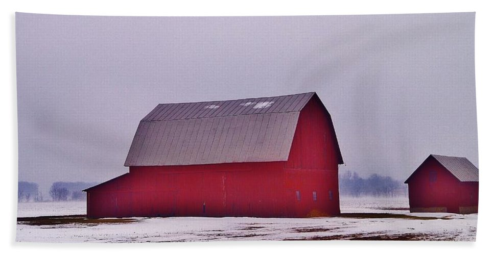 Beach Towel featuring the photograph Zink Rd Farm 1 In Winter White by Daniel Thompson