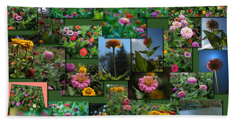 Zinnias Beach Towel featuring the photograph Zinnias Collage Rectangle by Thomas Woolworth