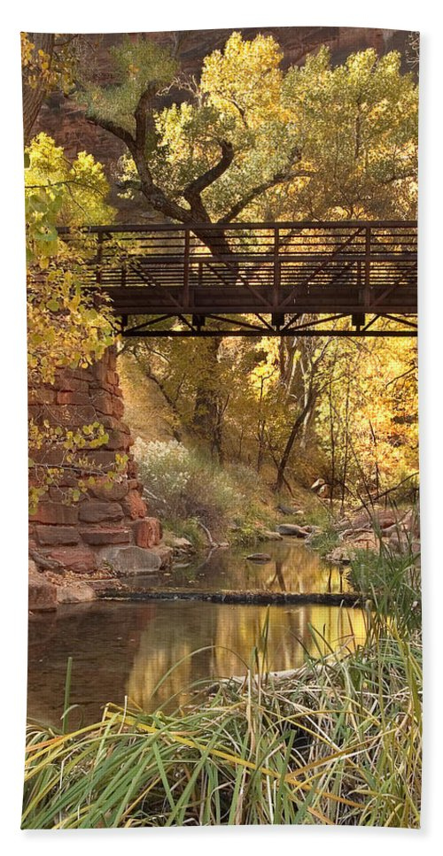 3scape Beach Sheet featuring the photograph Zion Bridge by Adam Romanowicz