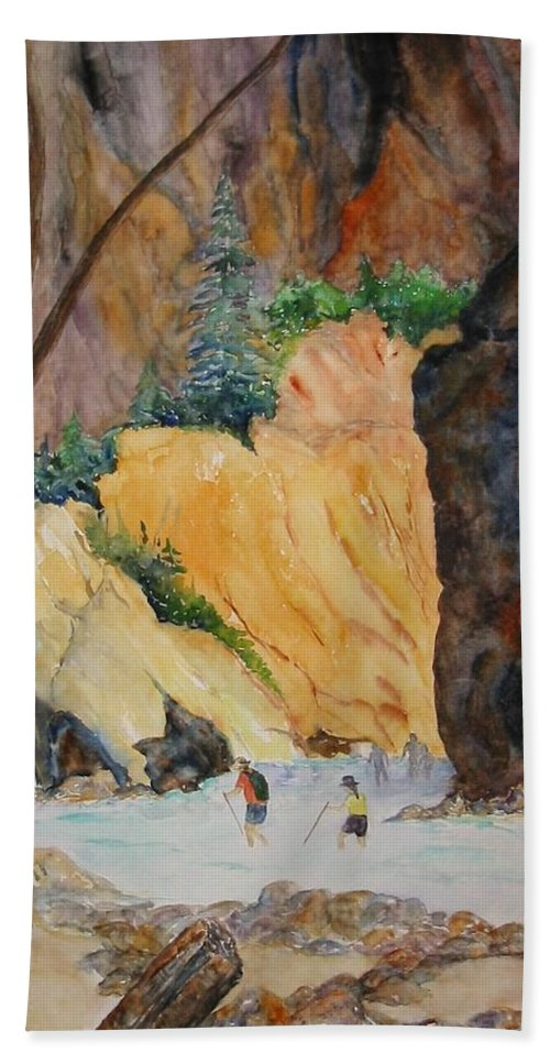 Zion Beach Towel featuring the painting Zion Hike by Patricia Beebe