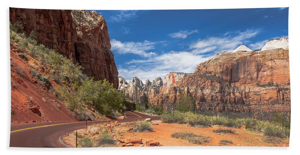 Zion National Parks Beach Towel featuring the photograph Zion Mount Carmel Highway by Robert Bales