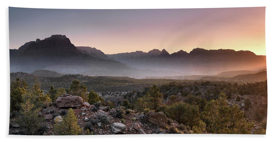 Colorful Beach Towel featuring the photograph Zion Sunrise by Leland D Howard
