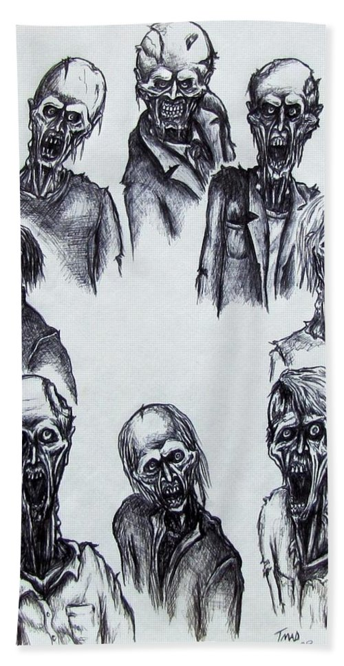 Michael Beach Towel featuring the drawing Zombies by Michael TMAD Finney
