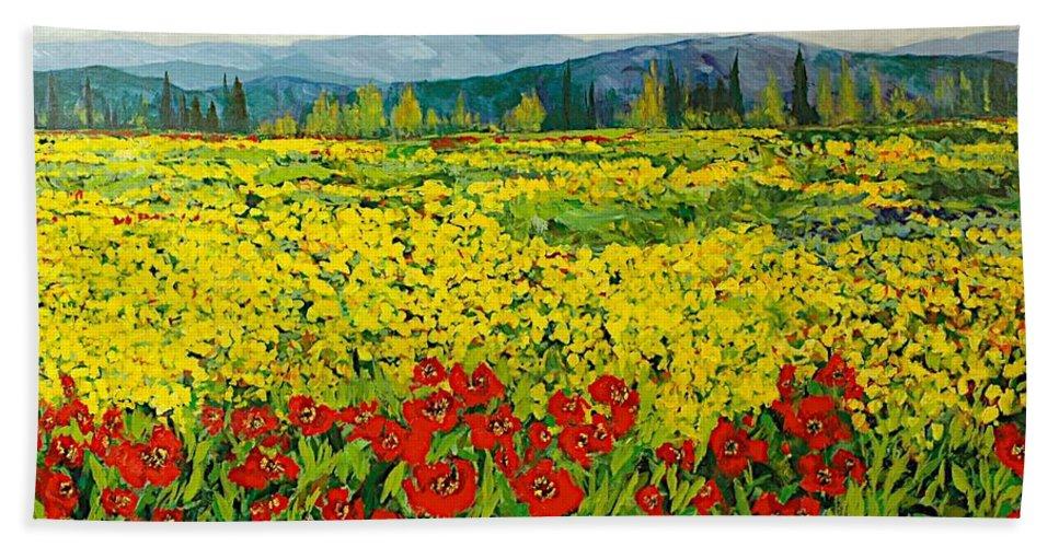 Landscape Beach Towel featuring the painting Zone Des Fleur by Allan P Friedlander