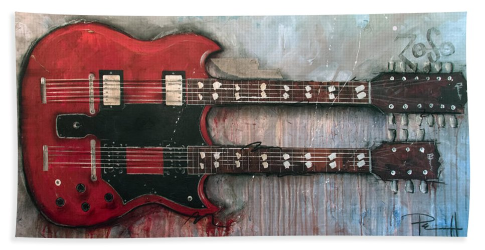 Jimmy Page Beach Towel featuring the painting Zoso by Sean Parnell