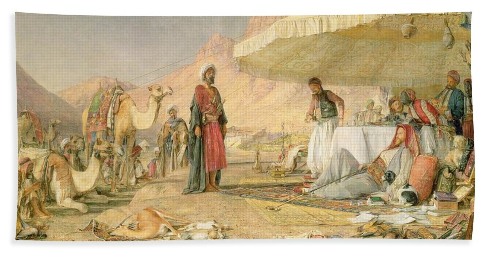 Xyc112301 Beach Towel featuring the photograph A Frank Encampment In The Desert Of Mount Sinai by John Frederick Lewis