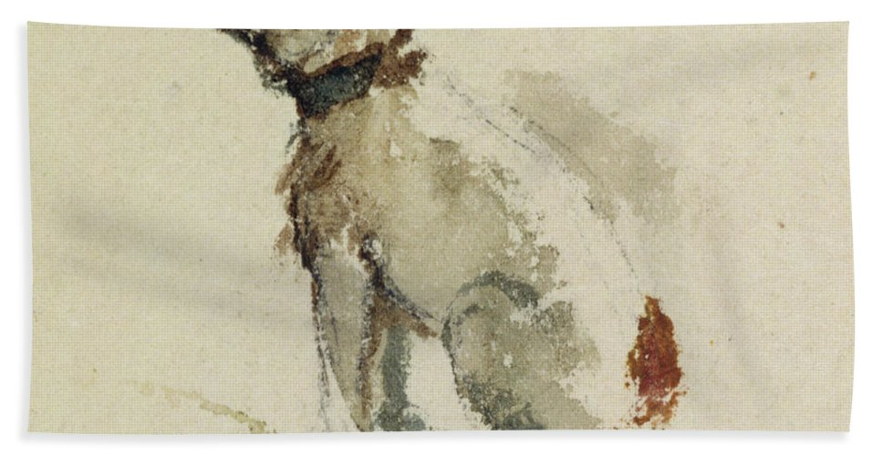 Terrier Beach Towel featuring the painting A Terrier - Sitting Facing Left by Peter de Wint