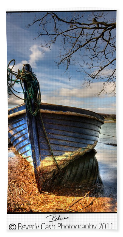 Blue Beach Towel featuring the photograph Blues - Boat by Beverly Cash