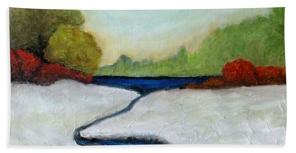 Snow Beach Towel featuring the painting Early Winter by Vesna Antic