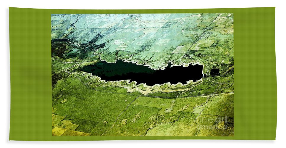 Aerial Beach Towel featuring the photograph Over A Kansas Lake by Kathleen Struckle