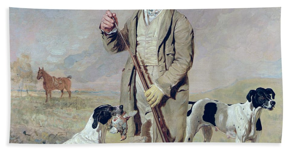 Xyc158567 Beach Towel featuring the photograph Richard Prince With Damon - The Late Colonel Mellish's Pointer by Benjamin Marshall