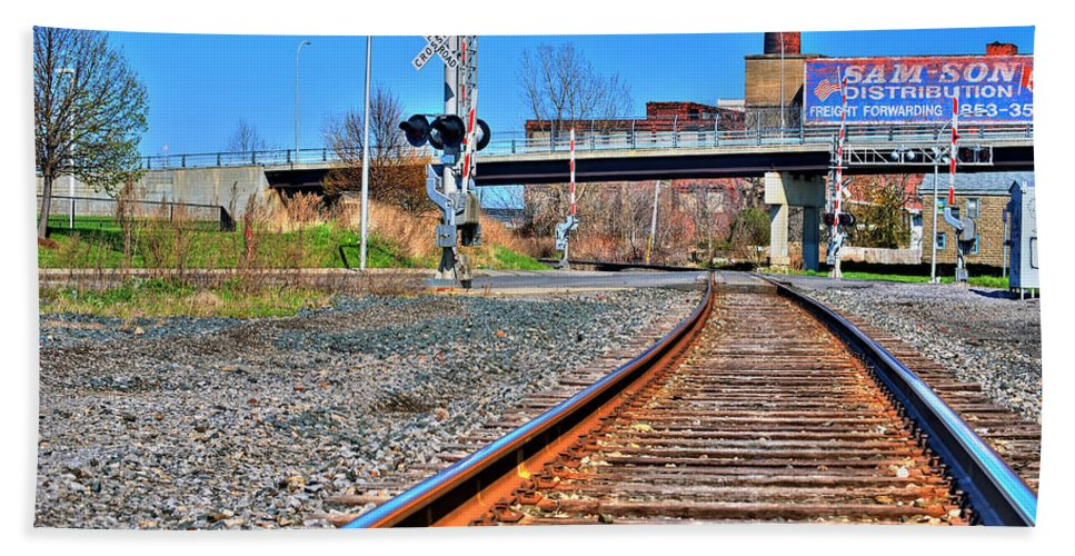 Beach Towel featuring the photograph 0001 Train Tracks by Michael Frank Jr