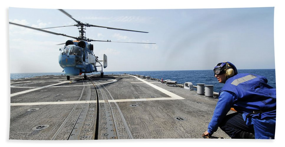 Horizontal Beach Towel featuring the photograph A Ukrainian Navy Ka-27 Helix Helicopter by Stocktrek Images